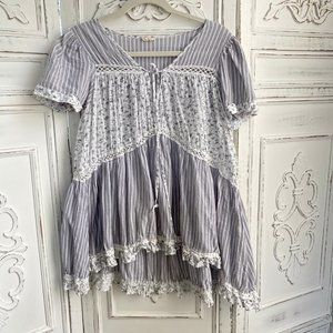 Stripe & Floral Tunic Blouse - Size M